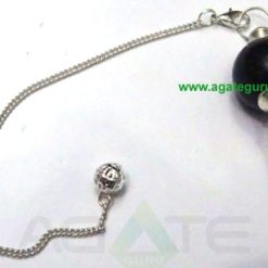 Black Turmoline Ball Pendulums With silver Chain