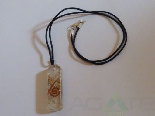 Crystal Orgone Pipe Pendent With Cord