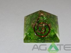 Green Color Dyed Orgone Pyramid With Copper Wire