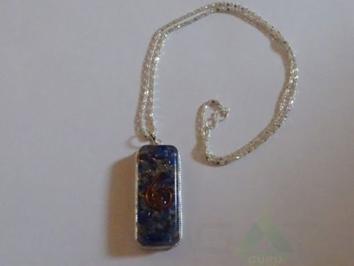 Lapis Lazuli Orgone Pipe Pendent With Metal Chain