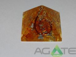 Orange Color Dyed Orgone Pyramid With Copper Wire
