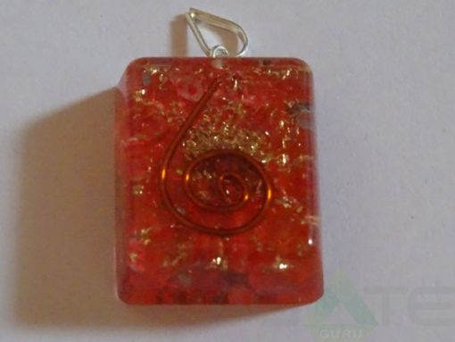 Red Square Orgone Pendant