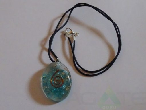 Sapphire Orgone Oval Pendet With Cord