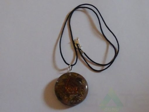 Tiger Eye Orgone Disc Pendent With Cord