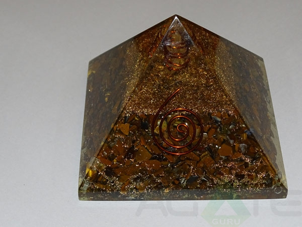 Tiger Eye Orgone Layer Copper Pyramid With Point
