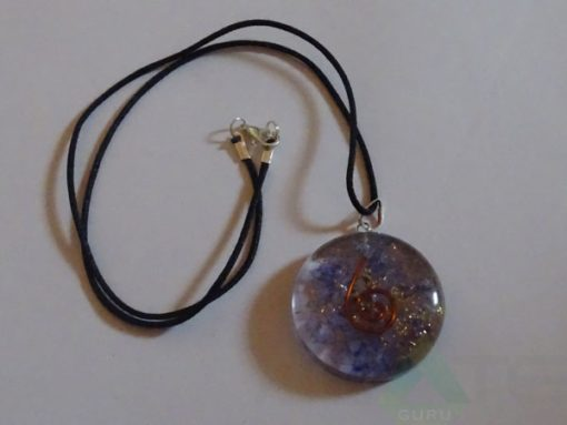 Violet Orgone Disc Pendent With Cord