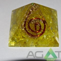 YELLOW COLOR DYED ORGONE PYRAMID WITH COPPER WIRE