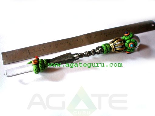 Vajra Healing Stick With 2INCH Metal & Iron Vajra Crystal Quartz Ball Crystal Quartz Obelisk And Chakra Cabs