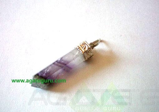 Amethyst Faceted Silver Metal Pencil Pendent