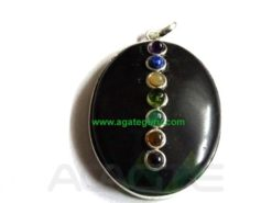 Black Agate Oval Pendent