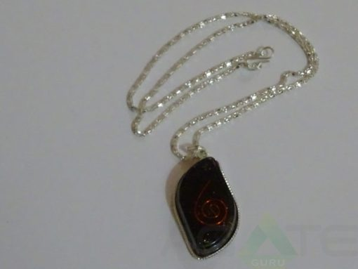 Black Tourmaline Orgone Eye Pendent With Chain
