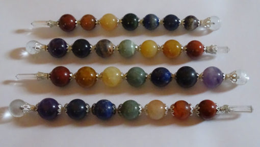 Mix Chakra Ball Healing wands with crystal Point