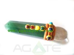 Green Aventurine Chakra Tibetan Healing Stick With Crystal Quartz Ball