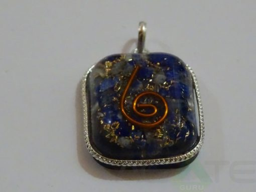 Lapis Lazuli Orgone Rounded Square Pendent With Chain