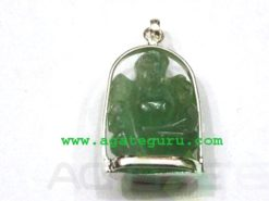 Light Green Aventurine Ganesha Metal Pendent