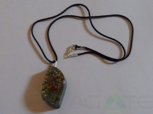 Malachite Orgone Eye Pendent With Cord