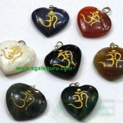 Mix Agate Stone Om Heart Pendent