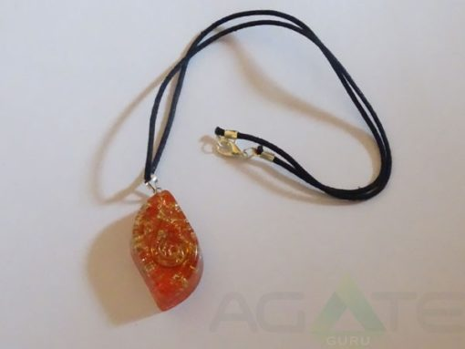 Orange Orgone Eye Pendent With Cord