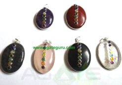 Oval 7 Chakra Pendent