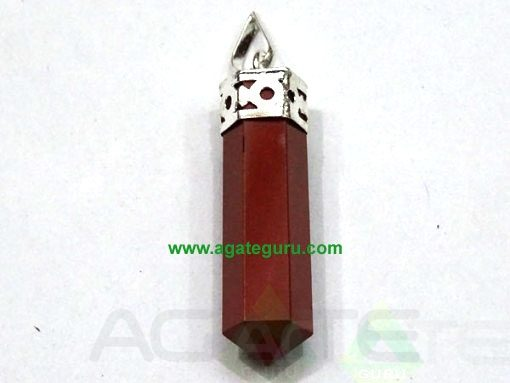 Red Jasper Faceted Pencil Pendent