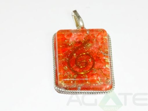 Red Square Orgone Pendant With Chain