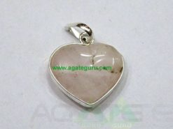 Rose Quartz Agate Heart Pendant
