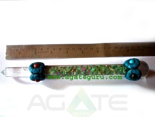 Tibetan Healing Stick With Crystal Quartz Ball And Crystal Obelisk
