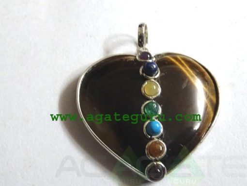 Tiger Eye Agate 7 Chakra Metal Heart Pendent