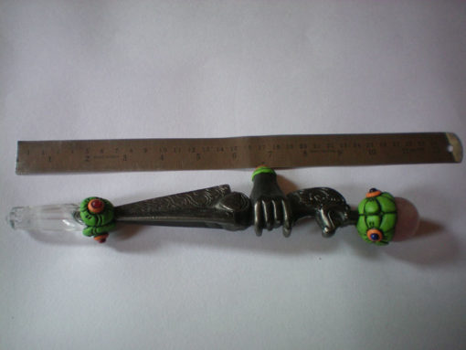 Vajra Healing Stick With 7INCH Iron Vajra Crystal Quartz Obelisk And Chakra Cabs With Rose Quartz Ball