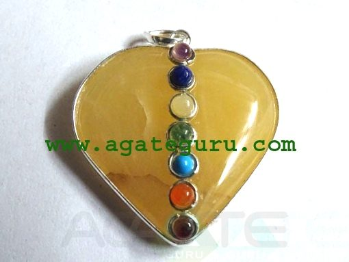 Yellow Agate 7 Chakra Metal Heart Pendent