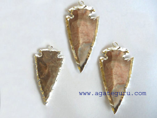 Agate Silver Electroplated Gemstone Arrowhead Pendants