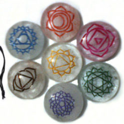 Crystal Agate Engrave Chakra Colourful Disc set with velvet purse