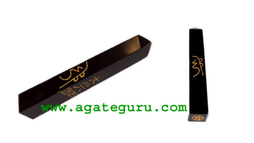 Black Obsidian Wand Tower With Reiki Healing Engraved Symbols