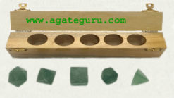 GREEN AVENTURINE 5PCS GEOMETRY SET WITH BOX.