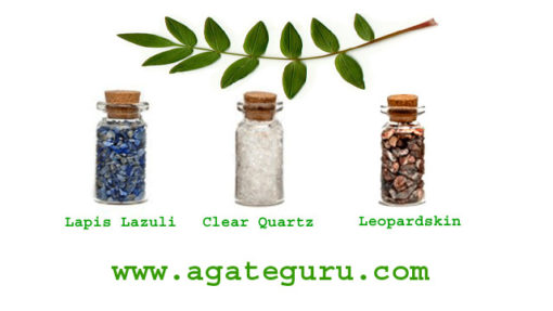 lapis Lazuli, Clear Quartz, Leopardskin, Gemstone Healing Chips Bottles