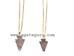 Rose Quartz Arrowhead Pendents With chain