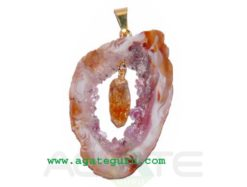 Agate 2 pieces Slice Pendant..