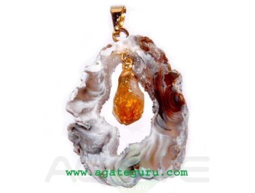 Agate 2 pieces Slice Pendant...