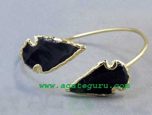 BLACK OBSIDIAN ARROWHEAD BANGLE.