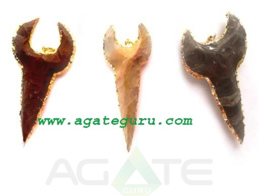 Gold Plated Japer Arrowhead Pendant.