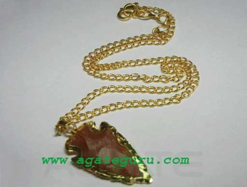 Red Agate Arrowhead Gold Electroplated Pendant Necklace.