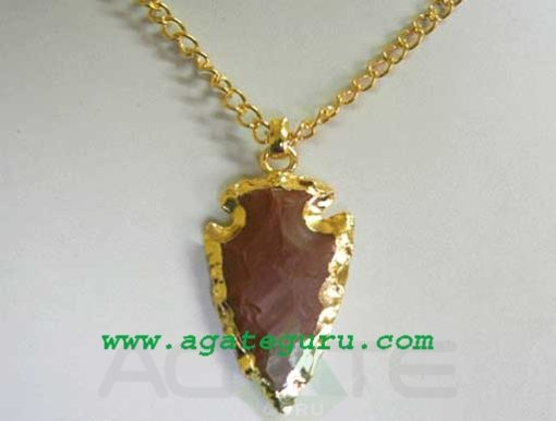 Red Agate Arrowhead Gold Electroplated Pendant Necklace..