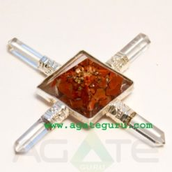 ORGONE RED JASPER PYRAMID ENERGY GENERATOR W4 CRYSTAL QUARTZ POINTS