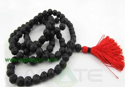 Lava rock 8mm mala - Black regular mala - basalt mala