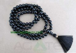 Mala - 8mm black onyx 108 beads buddhist mala - prayer necklace - black