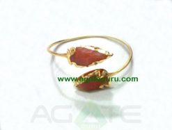 RED CORNELIAN TWO TONE ARROWHEAD BANGLE