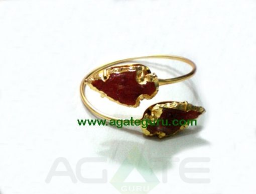 Red Gold Stone Arrowhead Bangle