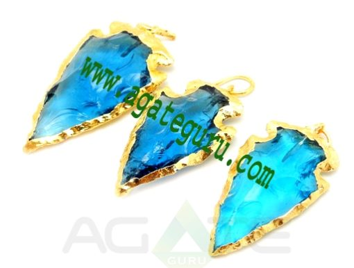 Turquoise Glass Arrowhead Pendant Charm edged in Electroplated