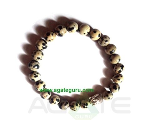 Dalmation Jasper With Buddha Face Bracelet. : India wholesaler Manufacturer