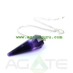 Amethyst Faceted Pendulum With Om Charms : Chakra Pendulum exporter